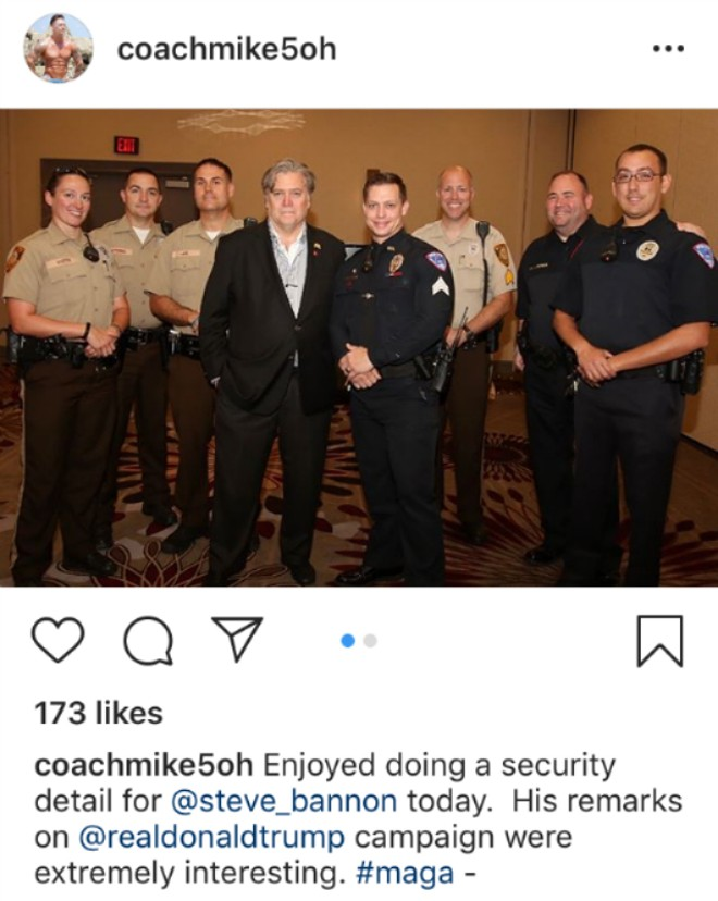 Ex-cop Mike Weston's social media posts often featured his days in law enforcement, including this security detail for Steve Bannon. - INSTAGRAM