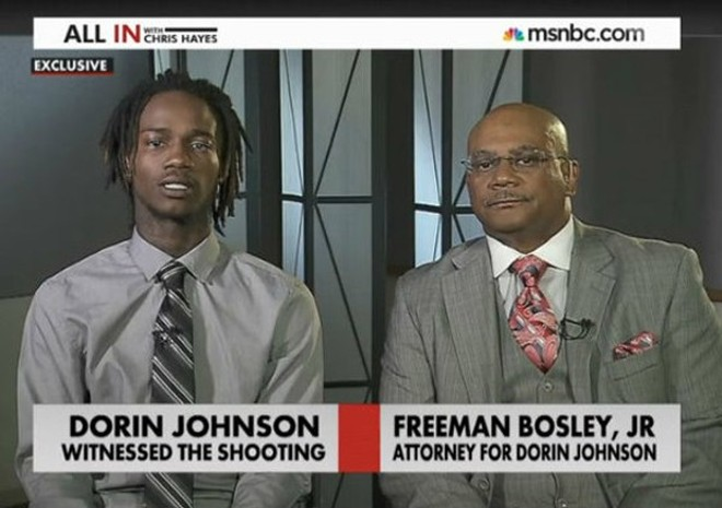 Dorian Johnson, left, during a TV appearance in 2014. - SCREENGRAB VIA MSNBC