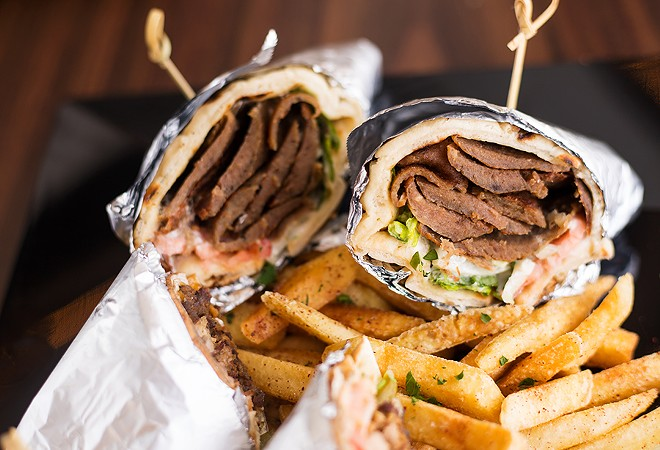 The gyro sandwich includes shaved beef, lamb and veal. - MABEL SUEN
