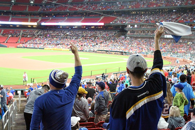 Thousands packed Busch Stadium and Enterprise Center to watch the Blues beat the Bruins in Boston. - KATIE COUNTS