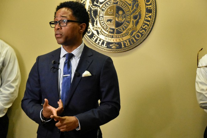 St. Louis Prosecuting Attorney Wesley Bell announces charges in the case. - DOYLE MURPHY