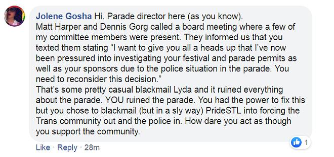 A Facebook comment Jolene Gosha posted on Mayor Krewson's page. - FACEBOOK