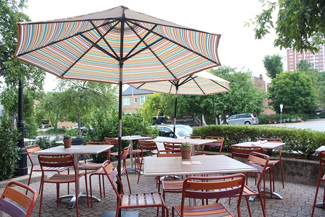 The outdoor patio seats about 24 and it's dog-friendly. - KATIE COUNTS