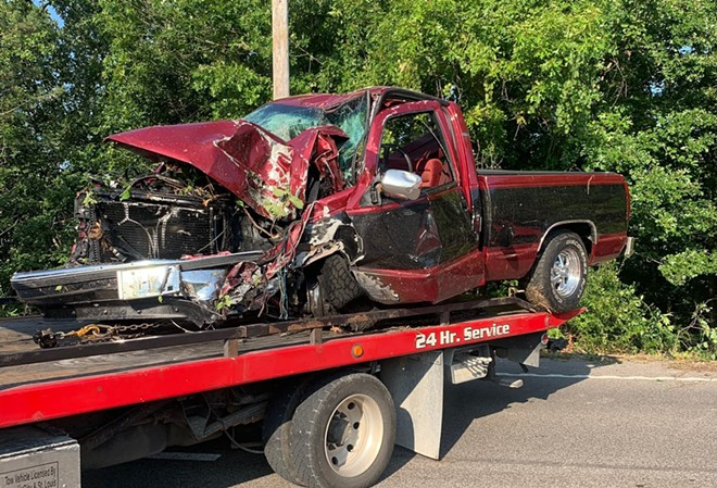 A photo taken by the Rock Community Fire District shows the aftermath of a nude man's wreck into some trees. (Sorry, no photos of the naked guy.) - VIA ROCK COMMUNITY FIRE DISTRICT