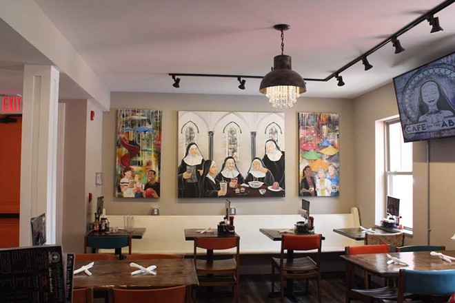 As a testament to the history of the location, Cafe on the Abbey displays a painting of nuns enjoying some food. - KATIE COUNTS