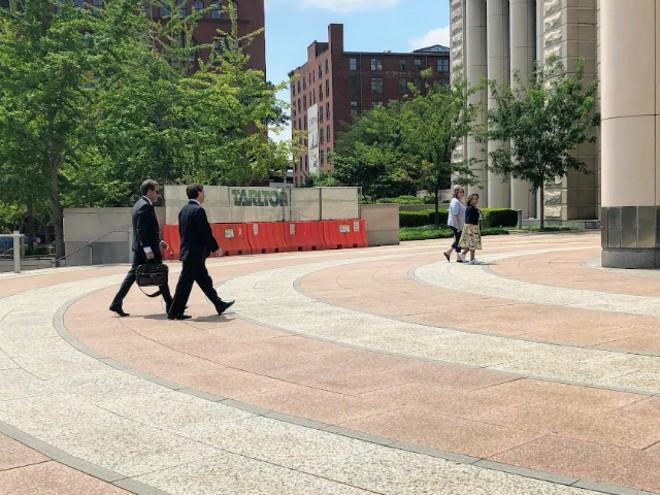 Steve Stenger and attorney Scott Rosenblum, left, arrive for the sentencing. - JAMES POLLARD