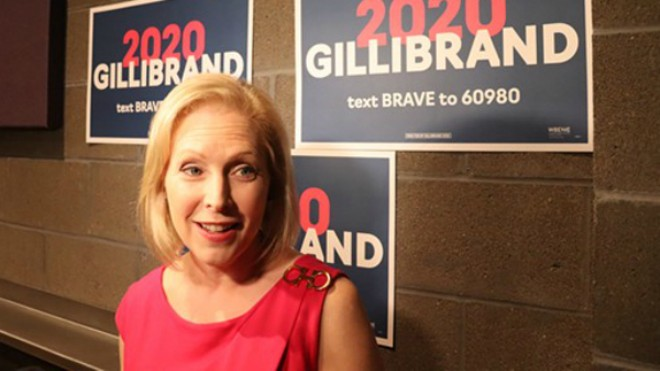 Senator Kirsten Gillibrand focused on reproductive rights during a forum at Delmar Hall. - JAMES POLLARD