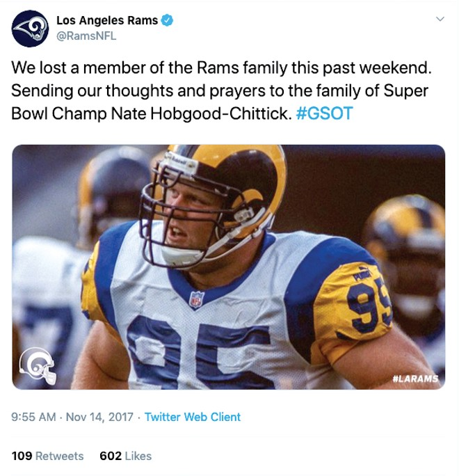 The Rams tweeted condolences to Nathan Hobgood-Chittick's family after his death.