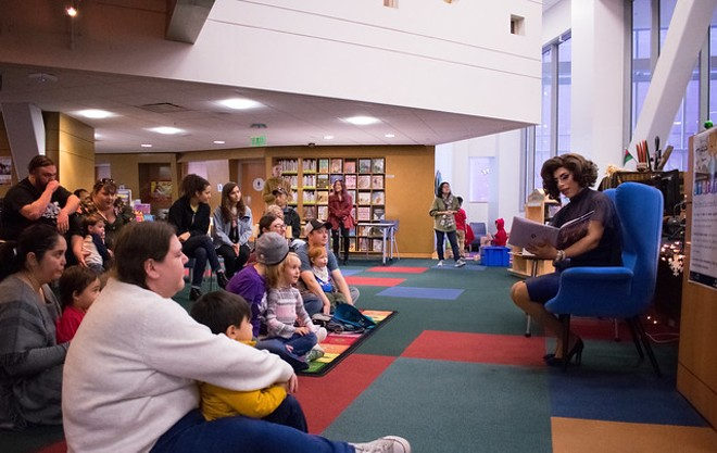Drag queen story hours have become common in libraries across the globe. - SAN JOSÉ PUBLIC LIBRARY / FLICKR