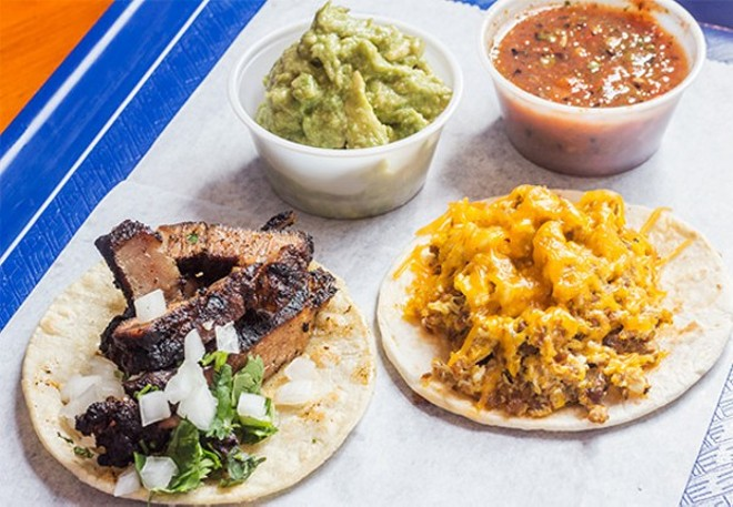 Pork steak and breakfast tacos at Taco Circus. - PHOTO BY MABEL SUEN