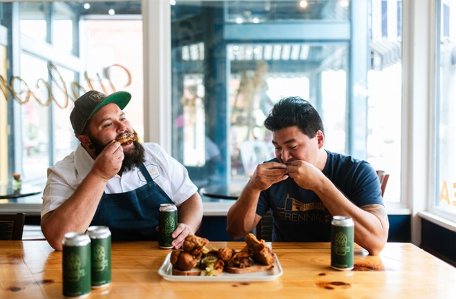 Rick Lewis, at left, of Grace Meat + Three with Perennial Artisan Ales co-founder Phil Wymore. - SPENCER PERNIKOFF