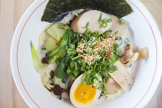 The Shroomed Out ramen at Nudo House is a vegetarian mushroom ramen. - MABEL SUEN