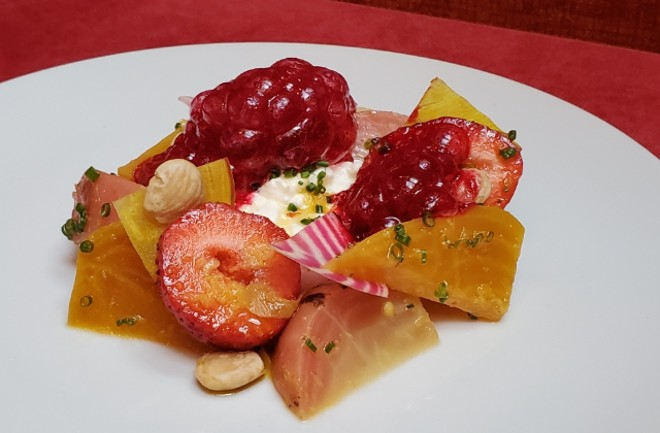 The first course, titled Berry Balloons, will combine fresh strawberries with Baetje Farms goat cheese - COURTESY GRAND TAVERN BY DAVID BURKE