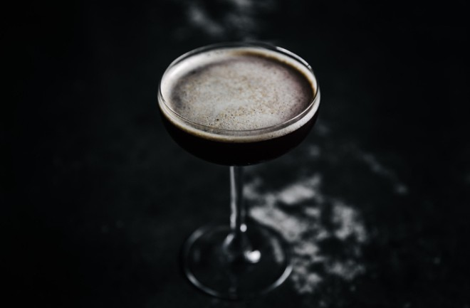 Are You Afraid of the Dark with J. Rieger & Co. gin, Averna, Curacao noir, Jamaican rum, molasses, ginger and lemon. - ANDREW TRINH PHOTOGRAPHY