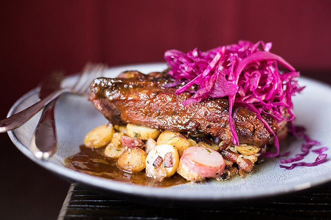 The Bellwether's pork steak is a thing of beauty: Inside, it's positively succulent; on the outside, there is a touch of char to give it a suggestion of backyard barbecue. - MABEL SUEN