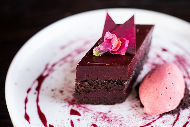 A highlight from the dessert menu is the chocolate-beet cake with beet custard, beet ganache and ginger-beet ice cream. - MABEL SUEN