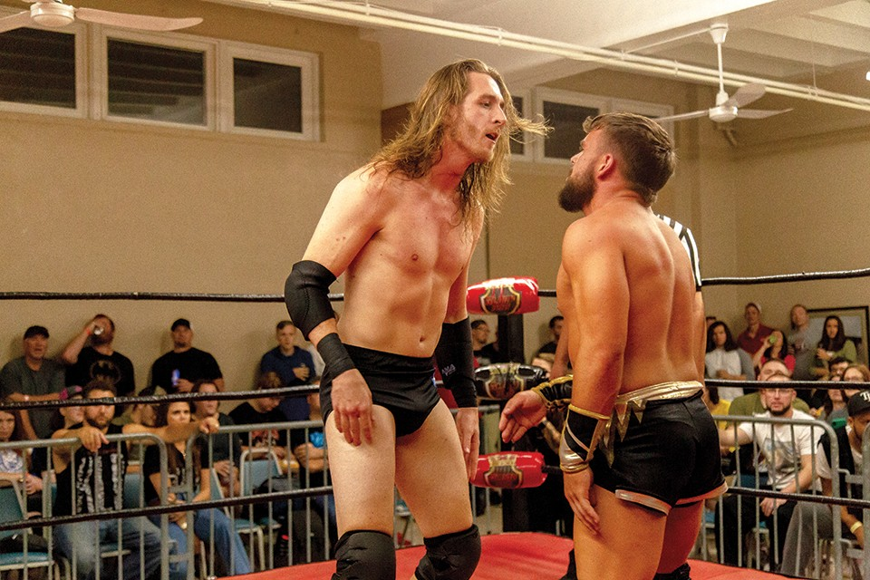 Curt Stallion (left) and Jake Lander (right) fought Daga at the October 5 show. - MONICA MILEUR