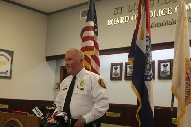 Appointed in 2014, St. Louis County Police Chief Jon Belmar took the stand in Wildhaber's trial. - DOYLE MURPHY