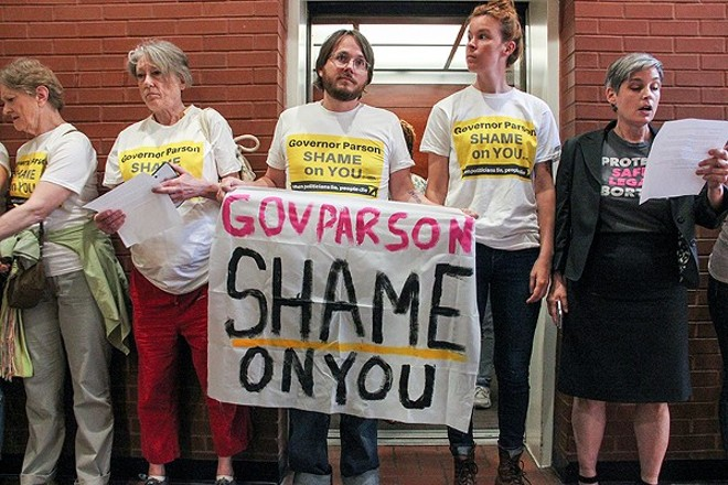 In May, protesters occupied the Wainwright Building in St. Louis, demanding the state renew Planned Parenthood's abortion license. - DANNY WICENTOWSKI