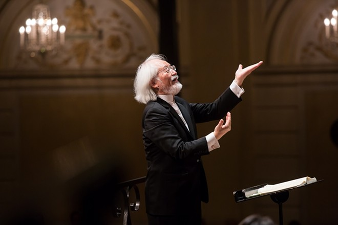 Conductor Masaaki Suzuki leads the St. Louis Symphony through Mozart's Great Mass in C Minor. - RONALD KNAPP