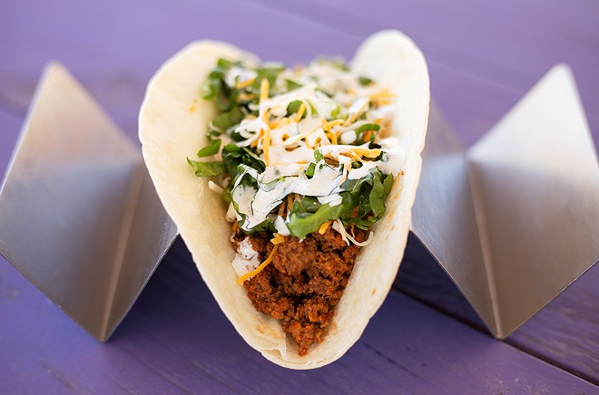 """The """"Number of the Beef"""" is an unabashedly Americanized taco with ground beef seasoned with the shack's signature Rock Star Dust. - MABEL SUEN"""