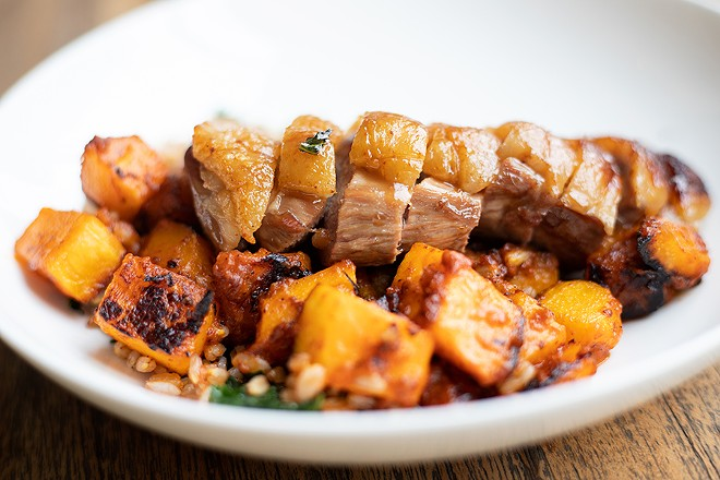 For this dish, the kitchen slices the duck breast into medallions, then gilds the meat with brown butter; together, the butter and duck's natural jus form a glorious concoction that soaks into the accompanying barley. - MABEL SUEN