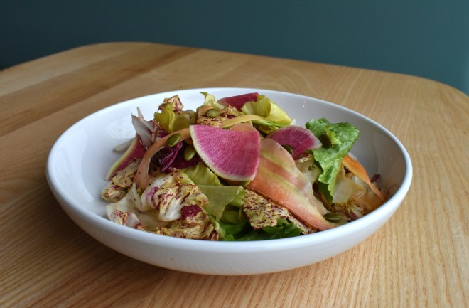Chicories salad with shaved vegetables, creamy red wine vinaigrette and toasted pumpkin seeds. - LIZ MILLER