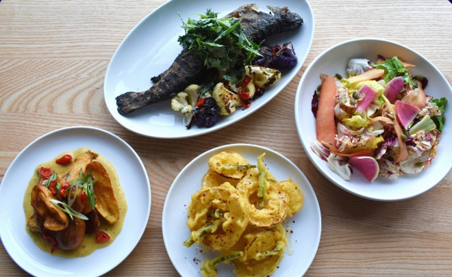 Pictured from left to right, top to bottom: whole grilled trout, chicories salad, crispy fingerling potatoes and delicata squash. - LIZ MILLER