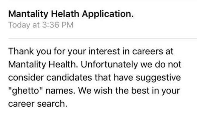 A rejection message sent to twenty black job applicants to Mantality Health in 2018. - SCREENSHOT VIA FACEBOOK
