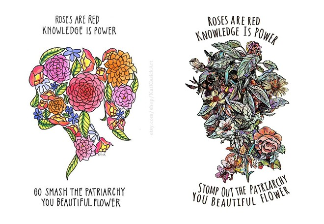 Kat Kissick's original illustration on the left, with Karl Frey's on the right. - PHOTO ILLUSTRATION BY DANNY WICENTOWSKI