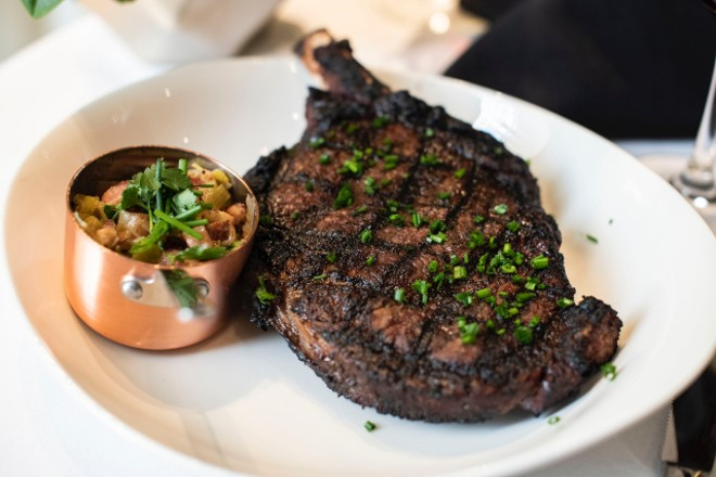 The kitchen now features a dry-aging chamberto age steaks and whole primal cuts in-house. - ED ALLER