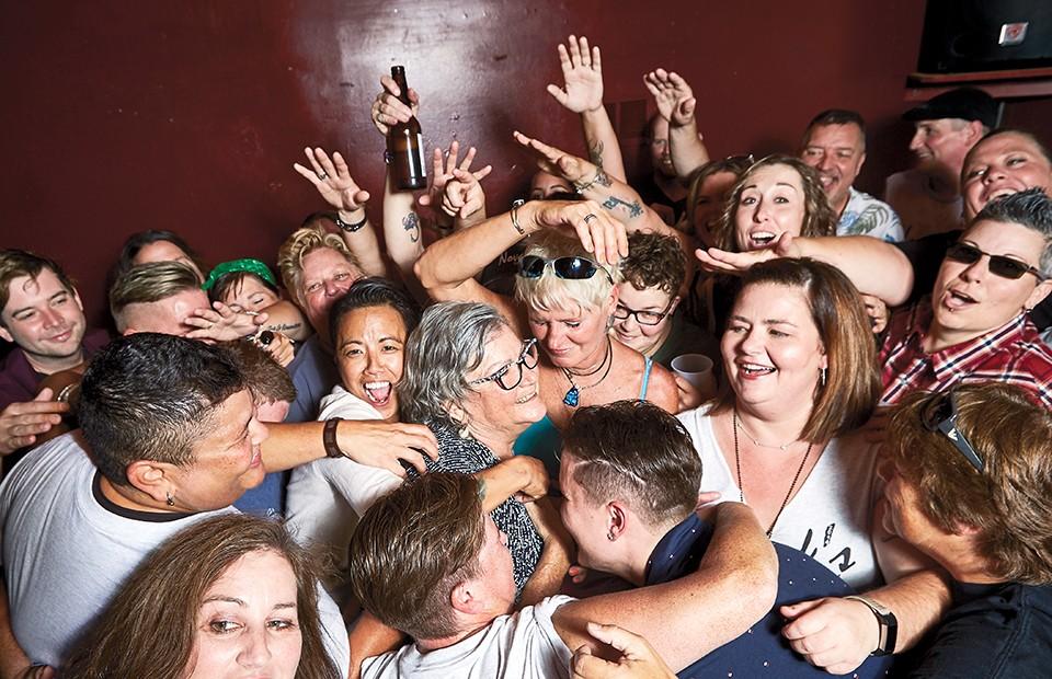 Nancy Novak, center, kept things interesting at Novak's Bar. - THEO WELLING