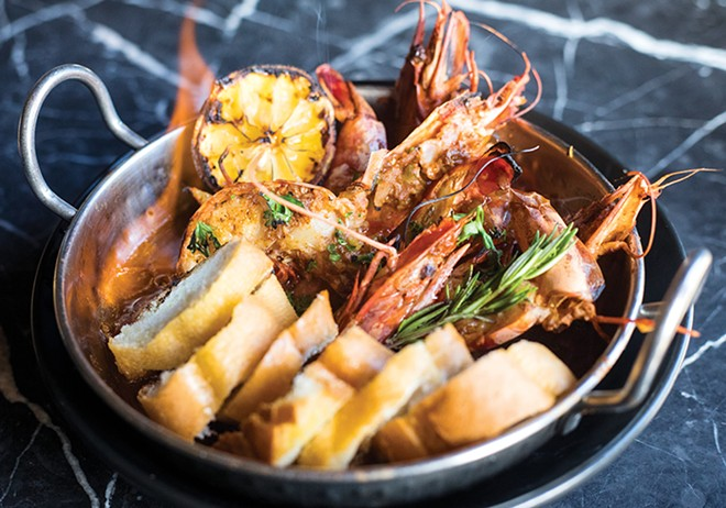 The Flaming Wicked Prawns are just one of the all-star dishes at Bait. - MABEL SUEN