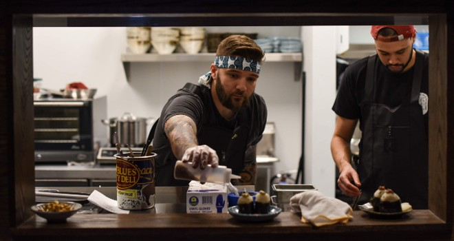 Chefs Chris Krzysik (pictured left) and Steven Pursley. - TRENTON ALMGREN-DAVIS
