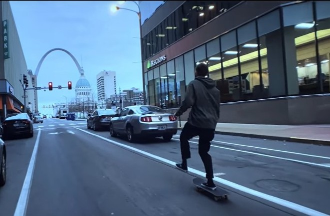 "Tyler Peterson skates through St. Louis in this still from the video ""Never Stop Pushing. - SCREENGRAB VIA YOUTUBE"
