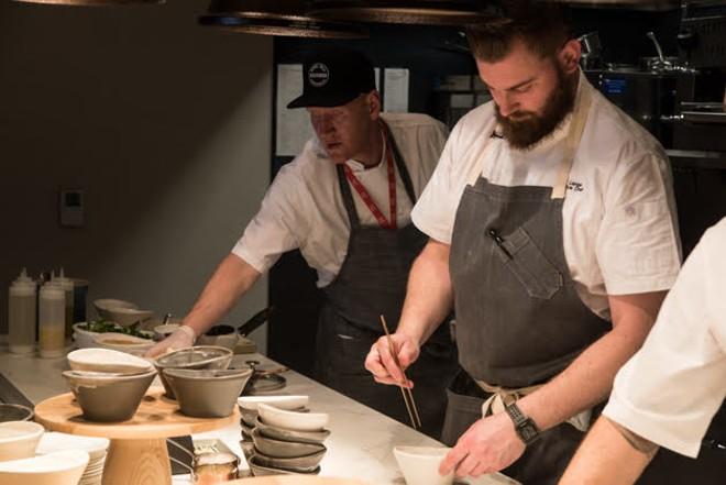 Executive chef Matt Lange hard at work in the kitchen. - TRENTON ALMGREN-DAVIS