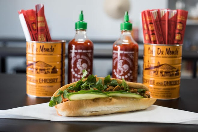 The grilled pork bánh mì sandwich. - TRENTON ALMGREN-DAVIS