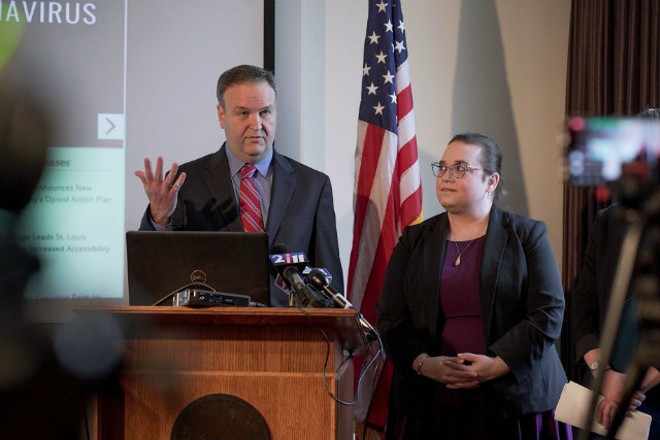 St. Louis County Executive Sam Page answers questions about COVID-19 at a February news conference. - COURTESY ST. LOUIS COUNTY