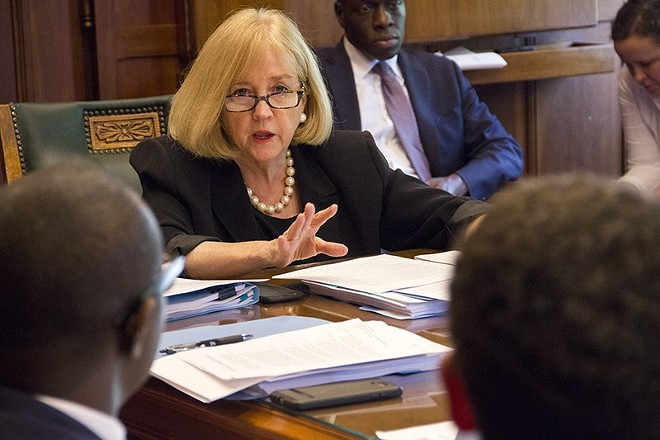 Mayor Lyda Krewson says that social distancing, wearing a mask and staying home when possible will all still be encouraged. - DANNY WICENTOWSKI