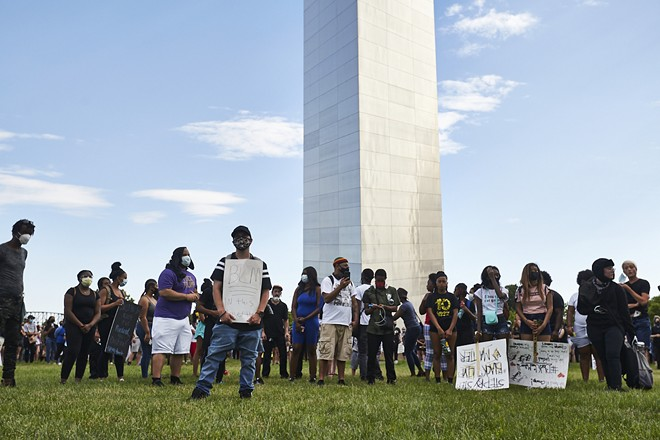 A scene from the protest yesterday. - PHOTO BY THEO WELLING