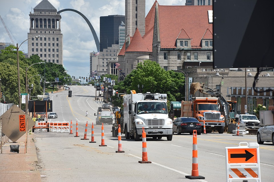 Mostly empty streets have been a benefit for road work crews. - DOYLE MURPHY