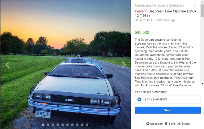 McFly? You know that new car you were looking for? Well look at this! - SCREENGRAB FROM THE FACEBOOK MARKETPLACE LISTING