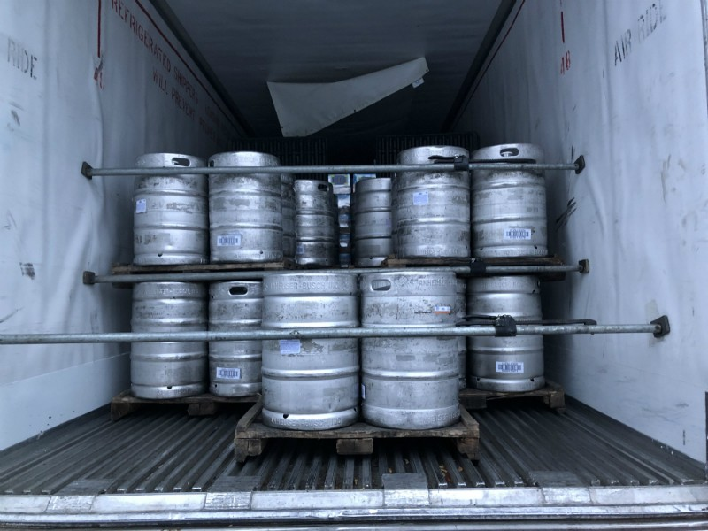 Backing into Tri-Valley Beverage in Westmoreland, New York, to have beer products unloaded on February 6. The load originated from the Anheuser-Busch Brewery in Newark, New Jersey. - CHET GORDON