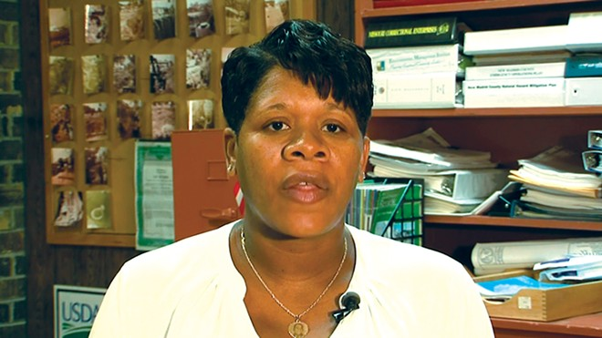 Former Mayor Tyus Byrd speaks with NBC News soon after her election. - SCREENSHOT