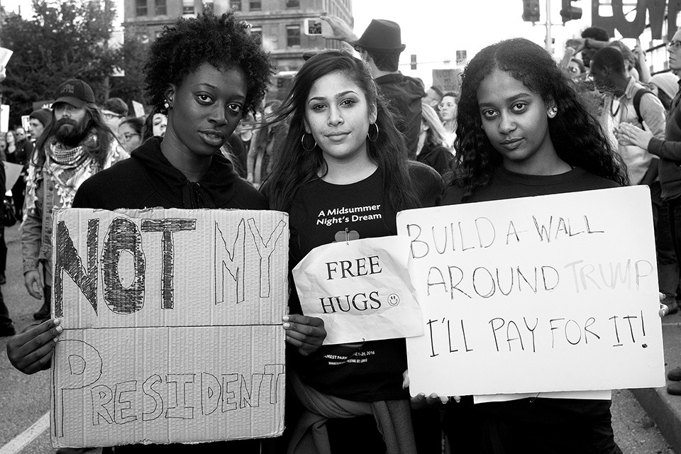 Photographed in 2016, Brooke Jones, Natasha Jain-Poster and Bersabeh Mesfin started their activism in high school after Michael Brown was killed. - ANDY PAULISSEN