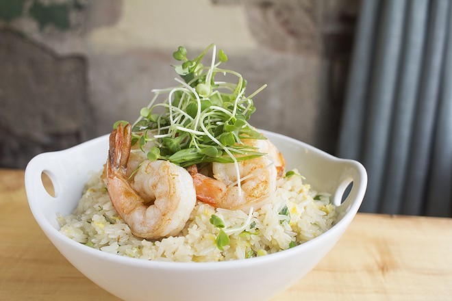 Coconut fried rice with green onion, garlic, scrambled egg, shrimp and microgreens. - PHOTO BY MABEL SUEN
