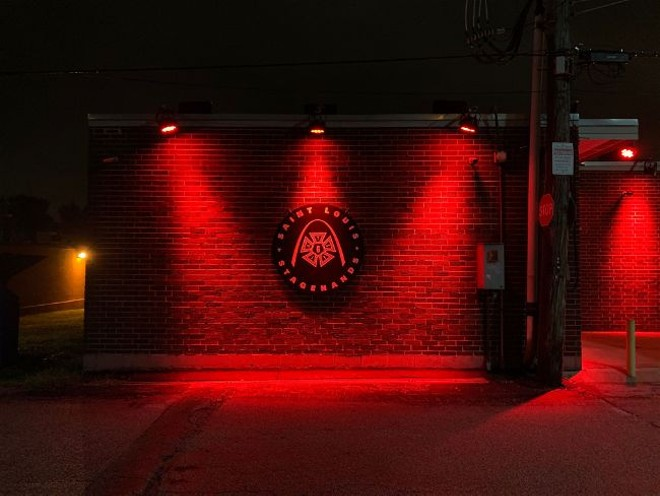 The Local 6 St. Louis Stagehands union headquarters, lit up in red as well. - MICHAEL BECKMAN