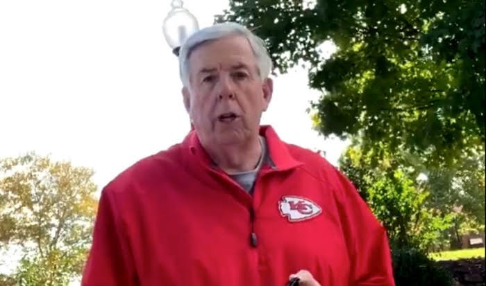 Missouri Governor Mike Parson in one of his video updates since catching COVID-19.