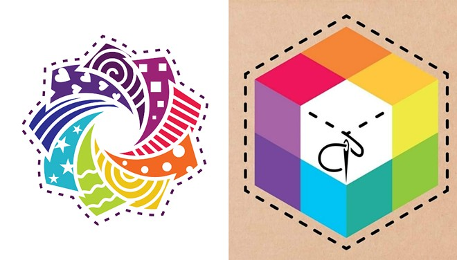 """Cotton Cuts' """"Rosa"""" design (left) is pitted against Paper Pieces' logo in a trademark dispute. - SCREENSHOTS"""