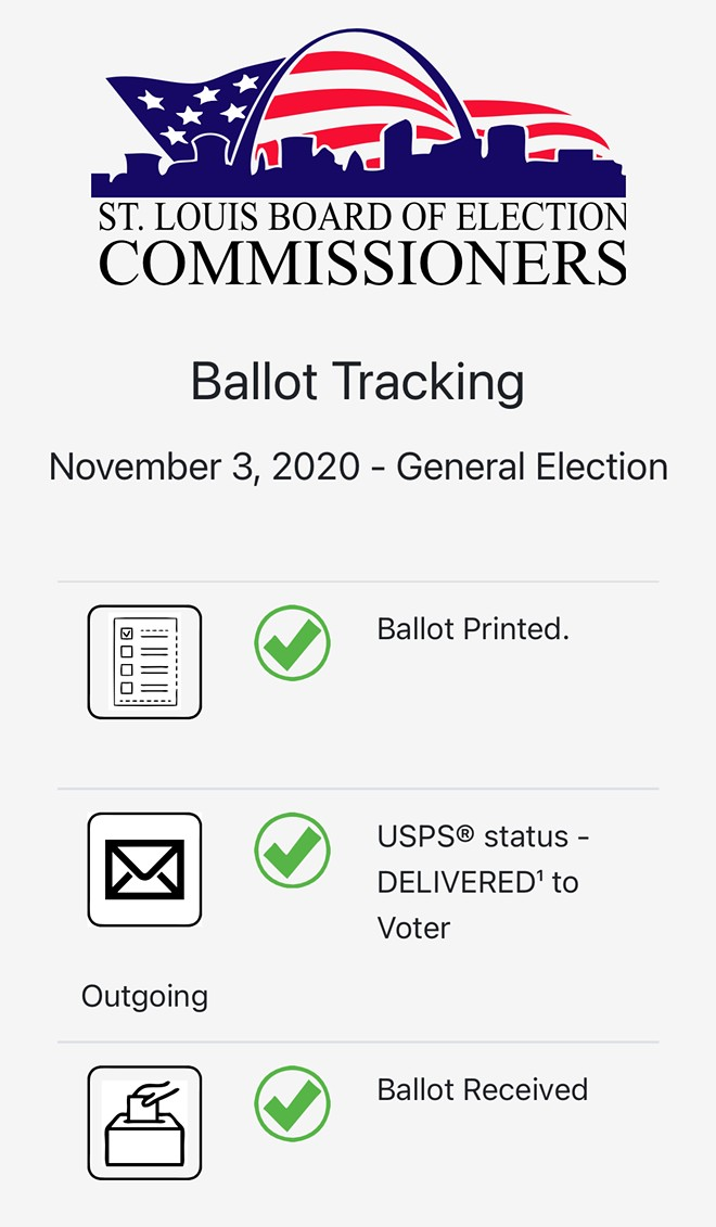This is what it looks like when you track a ballot from STL city on your phone. - SCREENGRAB FROM STLCITYBALLOTTRACKING.COM